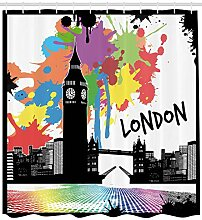 Soefipok Retro Duschvorhang, Vintage London City