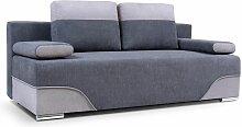 Sofa 2-Sitzer Schlafsofa ERIK Stoff Dunkelgrau-