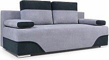 Sofa 2-Sitzer Schlafsofa ERIK Stoff Hellgrau-