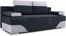 Sofa 2-Sitzer Schlafsofa ERIK Stoff Schwarz-