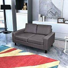 Sofa 2-Sitzer Stoff Dunkelgrau 08860 - Topdeal