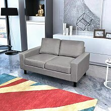 Sofa 2-Sitzer Stoff Hellgrau 08859 - Topdeal