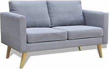 Sofa 2-Sitzer Stoff Hellgrau - Youthup