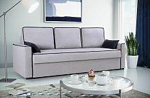 Sofa 3-Sitzer Schlafsofa CARLOTA Stoff Hellgrau