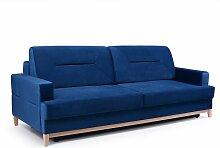 Sofa 3-Sitzer Schlafsofa LUNA Stoff Blau