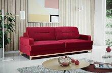 Sofa 3-Sitzer Schlafsofa LUNA Stoff Rot