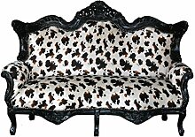 Sofa Barock 3 Sitzer schwarz / animalprin