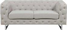 Sofa Beige Polsterbezug 2-Sitzer Chesterfield Stil
