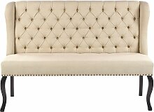 Sofa Beige Polsterbezug 2-Sitzer Küchensofa mit