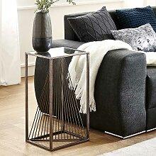 Sofa Beistelltisch mit Glasplatte Stahlgestell in