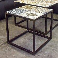 Sofa Beistelltisch mit Keramikplatte Bunt und
