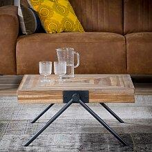 Sofa Beitisch aus Teak Massivholz und Stahl Antik