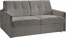 Sofa Bett Cube Convertible in System Rapido Schlafsack 140cm nubucuir hellgrau