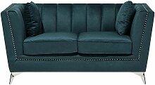 Sofa Blau-Grün Polsterbezug 2-Sitzer Glamourös