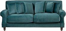 Sofa Blau Samtstoff 3-Sitzer Traditionell