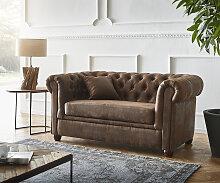 Sofa Chesterfield 2-Sitzer 140x88 cm Vintage Braun