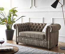 Sofa Chesterfield 2-Sitzer 140x88 Vintage Taupe