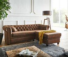 Sofa Chesterfield 200x88 cm Braun Abgesteppt