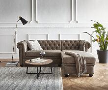 Sofa Chesterfield 200x88 cm Taupe Abgesteppt