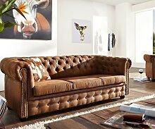 Sofa Chesterfield 200x92 cm Vintage Braun 3-Sitzer
