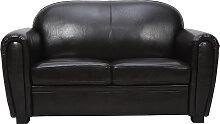 Sofa Club aus dunkelbraunem Leder mit 2