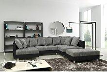 Sofa Couch Ecksofa Eckcouch in schwarz / hellgrau