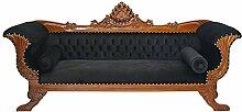 Sofa Couch Schlafsofa im antiken Stil Massivholz mit schwarzer Polsterung (1195)