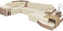 Sofa Couch Wohnlandschaft BERGAMO - XXL Stoffsofa