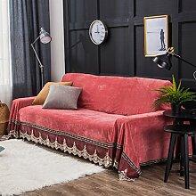 Sofa cover wurf,Sofa hussen wildleder,Couch-abdeckungen 1-Piece short plüsch vintage lace sofa abdeckungen für 2 3 Kissen couch wohnzimmer staub geschützt möbel protektor-rot 200x350cm(79x138inch)