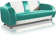 Sofa Dinersofa retro Style Couch Lounge Designer Sofa Wartemöbel (Türkis/White)