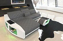 Sofa Dreams Leder Ecksofa Swing Couch mit Ottomane