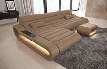 Sofa Dreams Ledersofa Concept L Form lang sandbeige