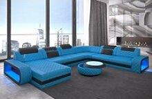 Sofa Dreams Sofa Berlin, U Form XXL blau
