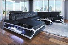 Sofa Dreams Sofa Napoli, U Form XXL schwarz