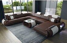 Sofa Dreams Sofa Rimini, U Form XXL braun