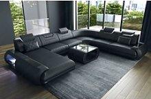 Sofa Dreams Sofa Rimini, U Form XXL schwarz