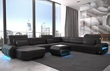 Sofa Dreams Sofa Roma, U Form XXL schwarz