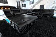 Sofa Dreams Sofa Turino, U Form XXL schwarz