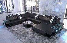 Sofa Dreams Sofa Venedig, U Form XXL schwarz