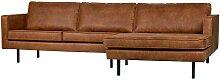 Sofa Eckgarnitur in Cognac Braun Recyclingleder