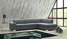 Sofa Elmo mit Ottomane rechts in grau mit Bettfunktion und Staukasten – Abmessungen: 280 x 220 cm (L x B)