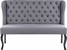 Sofa Grau Polsterbezug 2-Sitzer Küchensofa mit