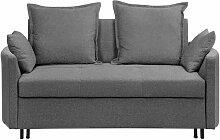 Sofa Grau Polsterbezug 2-Sitzer Schlaffunktion