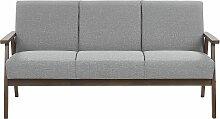 Sofa Grau Polsterbezug 3-Sitzer Retro Stil mit