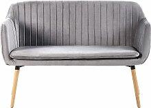 Sofa Grau Polsterbezug aus Samtstoff 2-Sitzer