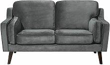 Sofa Grau Samtstoff 2-Sitzer Retro Minimalistisch