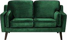 Sofa Grün Samtstoff 2-Sitzer Retro Minimalistisch