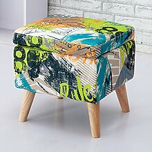 Sofa Hocker / Klein Fußhocker / Holzhocker / Schuhhocker / Fußhocker / Mode Kreativ / Luxus Stoff Fußbank / Multifunktionale Hocker(2 Farben) ( farbe : A )