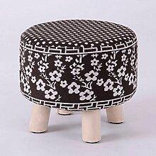 Sofa Hocker Runder Hocker Massivholz Einfache kleine Bank Sofa Hocker kann gewaschen werden und gewaschen werden Schuh Hocker Schemel ( Farbe : D )