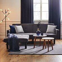 Sofa in Grau mit Bettfunktion inkl. Ottomane